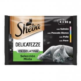 Sheba Multipack de 4 Bolsitas delicatezze para Gatos de Selección Mixta en Gelatina