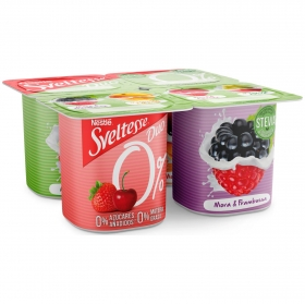 Yogur desnatado de sabores Nestlé Sveltesse pack de 4 unidades de 125 g.