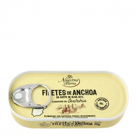 Filetes de anchoa del Cantábrico en aceite de oliva De Nuestra Tierra 50 g.
