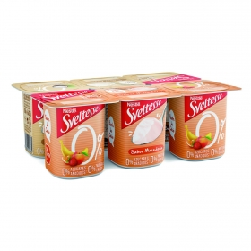 Yogur desnatado de coco y de macedonia sin azúcares añadidos Sveltesse pack de 6 unidades de 125 g.