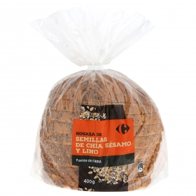 Pan de hogaza de semillas de chía, sésamo y lino Carrefour 400 g.