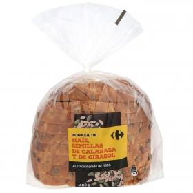 Pan de hogaza de maíz, semillas de calabaza y de girasol Carrefour 400 g.