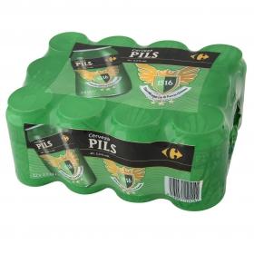 Cerveza Carrefour Pils pack de 12 latas de 33 cl.
