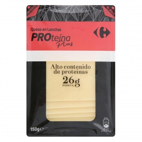 Queso en lonchas Proteína Plus Carrefour 150 g.