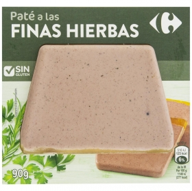 Paté de cerdo finas hierbas sin gluten Carrefour 90 g.