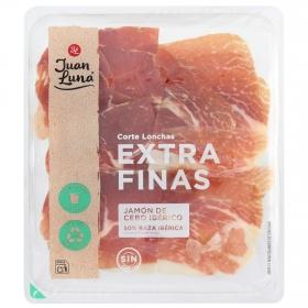 Jamón de cebo ibérico 50% raza ibérica en lonchas extrafinas Juan Luna sin gluten 90 g