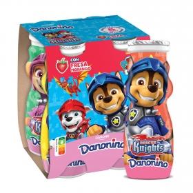 Yogur líquido de fresa Danone Danonino sin gluten pack de 4 unidades de 100 g.