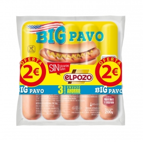 Salchichas BIG pavo El Pozo pack de 3 unidades de 200 g.