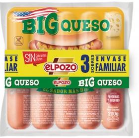 Salchichas BIG queso El Pozo sin gluten pack de 3 unidades de 200 g.