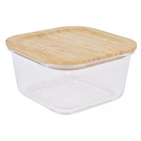 Recipiente Cuadrado Vidrio con Tapa de Bambú TABERSEO 1,4 l -Transparente