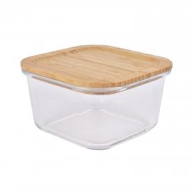 Recipiente Cuadrado Vidrio con Tapa de Bambú TABERSEO  0,95 l -Transparente