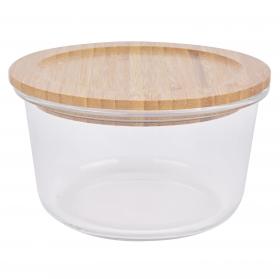 Recipiente Redondo Vidrio con Tapa de Bambú TABERSEO  0,8 l -Transparente