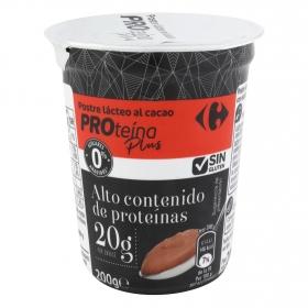 Postre de chocolate sin azúcar añadido Proteína Plus Carrefour sin gluten 200 g.