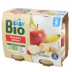 Tarrito de manzana y plátano Ecológico Carrefour Baby Bio desde 6 meses pack de 2 unidades de 200 g.
