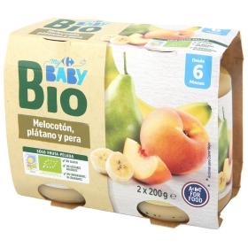 Tarrito de Melocotón con Platano y Pera Ecológico Carrefour Baby Bio desde 6 meses pack de 2 unidades de 200 g.