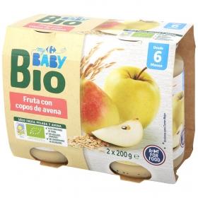 Tarrito de frutas con copos de avena Ecologico Carrefour Baby Bio desde 6 meses pack de 2 unidades de 200 g.