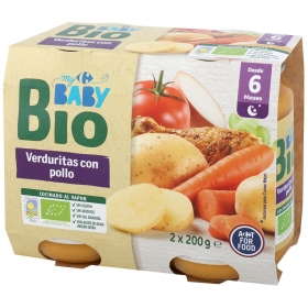 Tarrito de verduritas con pollo desde 6 meses ecológico Carrefour Baby Bio pack de 2 unidades de 200 g