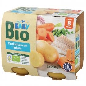 Tarrito de verduras con lubina desde 8 meses ecológico Carrefour Baby Bio sin gluten pack de 2 unidades de 200 g.