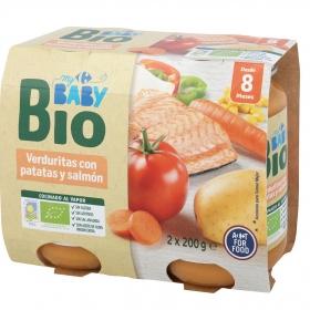 Tarrito de verduritas con papata y salmón desde 8 meses ecológico Carrefour Baby Bio sin gluten pack de 2 unidades de 200 g.