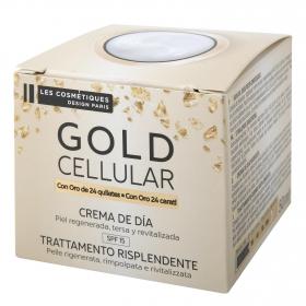 Crema de día facial Gold Celullar Les Cosmetiques 50 ml.