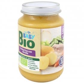 Tarrito de verduritas con dorada desde 8 meses ecológico Carrefour Baby Bio sin gluten 200 g.