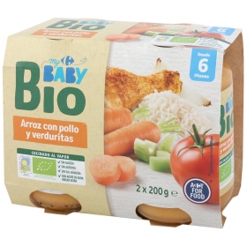 Tarrito de arroz con pollo y verduritas desde 6 meses ecológico Carrefour Baby Bio pack de 2 unidades de 200 g