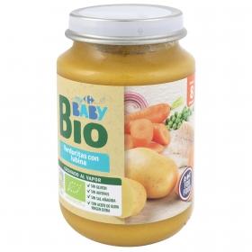 Tarrito de verduritas con lubina desde 8 meses ecológico Carrefour Baby Bio sin gluten 200 g.