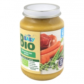 Tarrito de guisantes con jamón desde 6 meses ecológico Carrefour Baby Bio 200 g