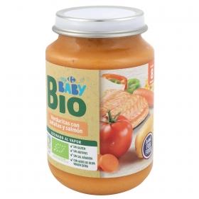 Tarrito de verduritas con patata y salmón desde 8 meses ecológico Carrefour Baby Bio sin gluten 200 g.