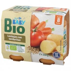 Tarrito de lentejas con verduritas desde 8 meses ecológico Carrefour Baby Bio pack de 2 unidades de 200 g