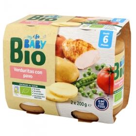 Tarrito de verduritas con pavo desde 6 meses ecológico Carrefour Baby Bio pack de 2 unidades de 200 g