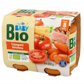 Tarrito de espagueti boloñesa desde 8 meses ecológico Carrefour Baby Bio pack de 2 unidades de 200 g