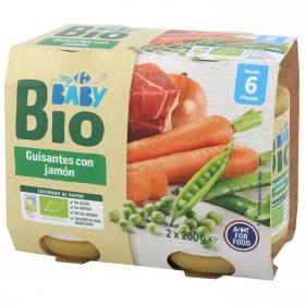 Tarrito de guisantes con jamón desde 6 meses ecológico Carrefour Baby Bio pack de 2 unidades de 200 g