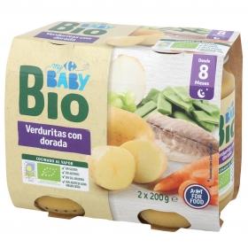 Tarrito de verduritas con dorada desde 8 meses ecológico Carrefour Baby Bio sin gluten pack de 2 unidades de 200 g.