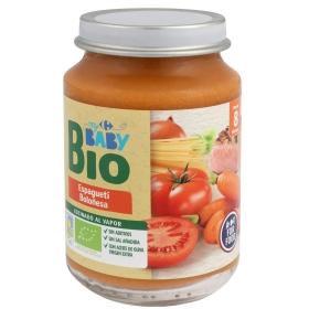 Tarrito de espagueti boloñesa desde 8 meses ecológico Carrefour Baby Bio 200 g