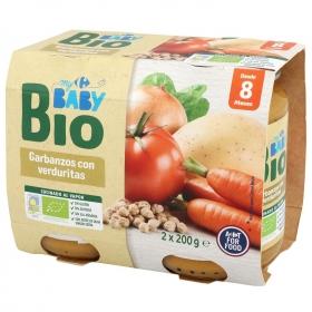 Tarrito de garbanzos con verduritas desde 8 meses ecológico Carrefour Baby Bio pack de 2 unidades de 200 g
