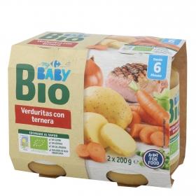 Tarrito de verduritas con ternera desde 6 meses ecológico Carrefour Baby Bio pack de 2 unidades de 200 g