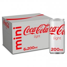 Refresco de cola Coca Cola light pack de 6 latas de 20 cl.