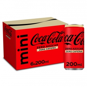 Refresco de cola Coca Cola zero sin cafeína pack de 6 latas de 20 cl.