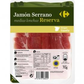 Jamón serrano reserva medias lonchas Carrefour 70 g.