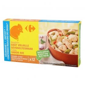 Caldo de pollo desgrasado Carrefour 12 pastillas de 10 g.
