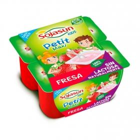 Petit maxi de soja con frambuesa y con fresa Sojasun sin lactosa pack de 4 unidades de 90 g.