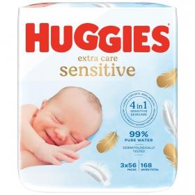 Toallitas para bebé pure extra care Huggies 168 ud.