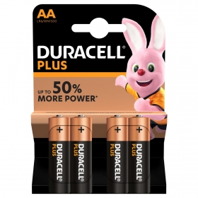 Pilas Alcalinas AA Duracell Plus, paquete de 4