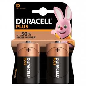 Pilas Alcalinas D Duracell Plus, paquete de 2