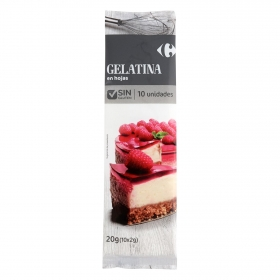 Gelatina neutra en láminas Carrefour sin gluten 20 g.