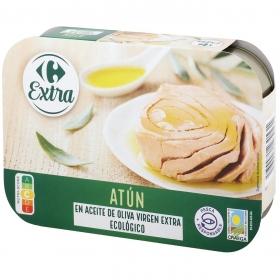 Atún en aceite de oliva virgen extra ecológico Carrefour pack de 6 unidades de 52 g.
