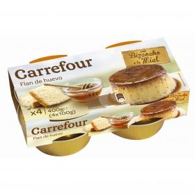 Flan de huevo con bizcocho a la miel Carrefour pack de 4 udnidades de 100 g.