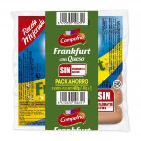 Salchichas de Frankfurt con queso Campofrío pack de 3 unidades de 140 g.