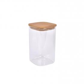 Tarro Borosilicato con tapa de bambú TABERSEO 1,5 l - Transparente
